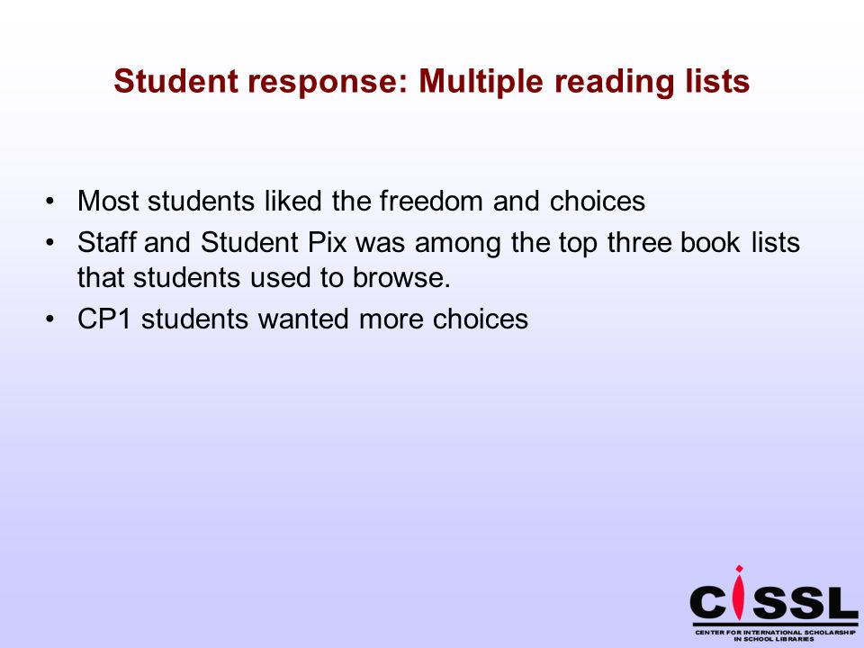 Student response: Multiple reading lists Most students liked the freedom and choices Staff and Student Pix was among the top three book lists that students used to browse.