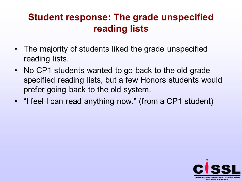 Student response: The grade unspecified reading lists The majority of students liked the grade unspecified reading lists. No CP1 students wanted to go