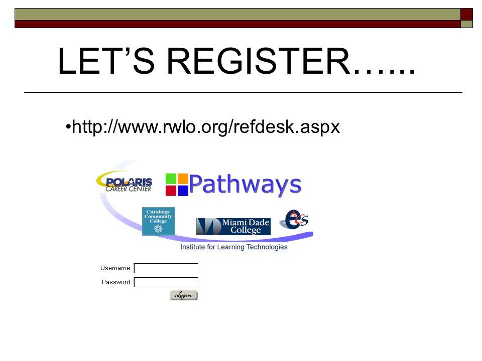 LETS REGISTER…... http://www.rwlo.org/refdesk.aspx