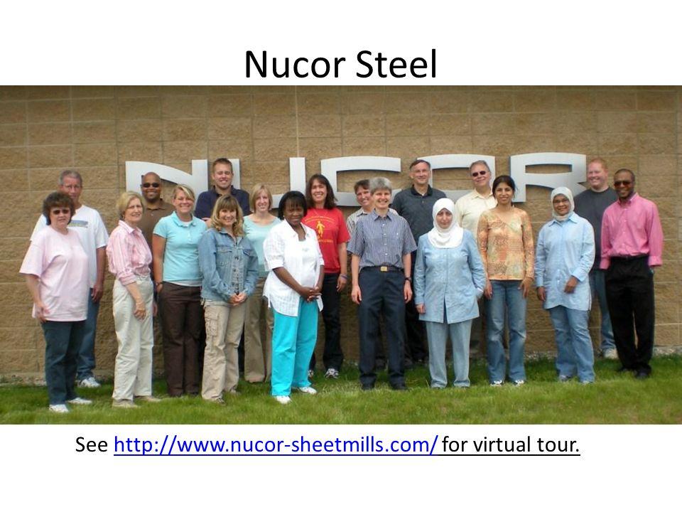 Nucor Steel See http://www.nucor-sheetmills.com/ for virtual tour.http://www.nucor-sheetmills.com/