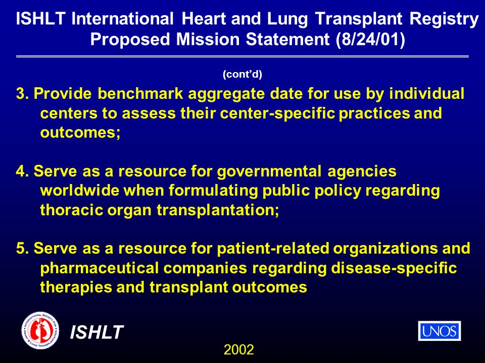 2002 ISHLT ISHLT International Heart and Lung Transplant Registry Proposed Mission Statement (8/24/01) 3.