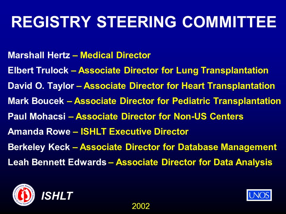 2002 ISHLT REGISTRY STEERING COMMITTEE Marshall Hertz – Medical Director Elbert Trulock – Associate Director for Lung Transplantation David O.