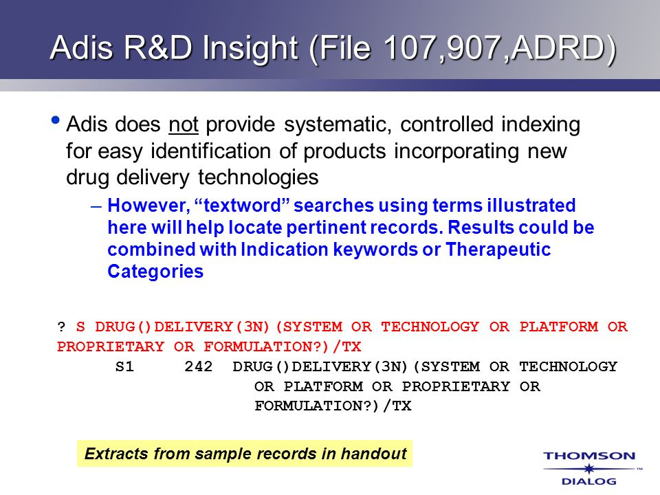 Adis R&D Insight (File 107,907,ADRD) Adis does not provide systematic, controlled indexing for easy identification of products incorporating new drug