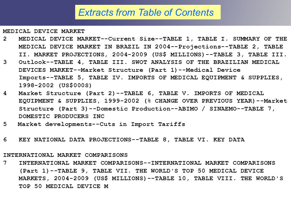 MEDICAL DEVICE MARKET 2 MEDICAL DEVICE MARKET--Current Size--TABLE 1, TABLE I. SUMMARY OF THE MEDICAL DEVICE MARKET IN BRAZIL IN 2004--Projections--TA