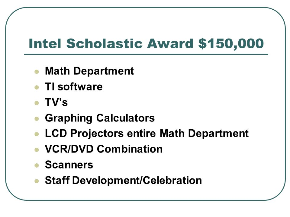 Intel Scholastic Award $150,000 Math Department TI software TVs Graphing Calculators LCD Projectors entire Math Department VCR/DVD Combination Scanners Staff Development/Celebration