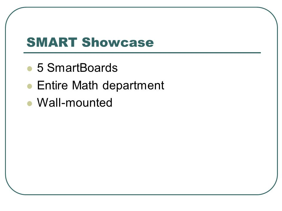 SMART Showcase 5 SmartBoards Entire Math department Wall-mounted