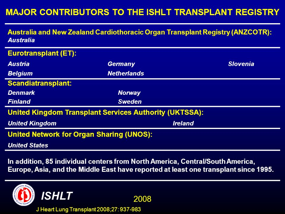 MAJOR CONTRIBUTORS TO THE ISHLT TRANSPLANT REGISTRY Australia and New Zealand Cardiothoracic Organ Transplant Registry (ANZCOTR): Australia Eurotransp