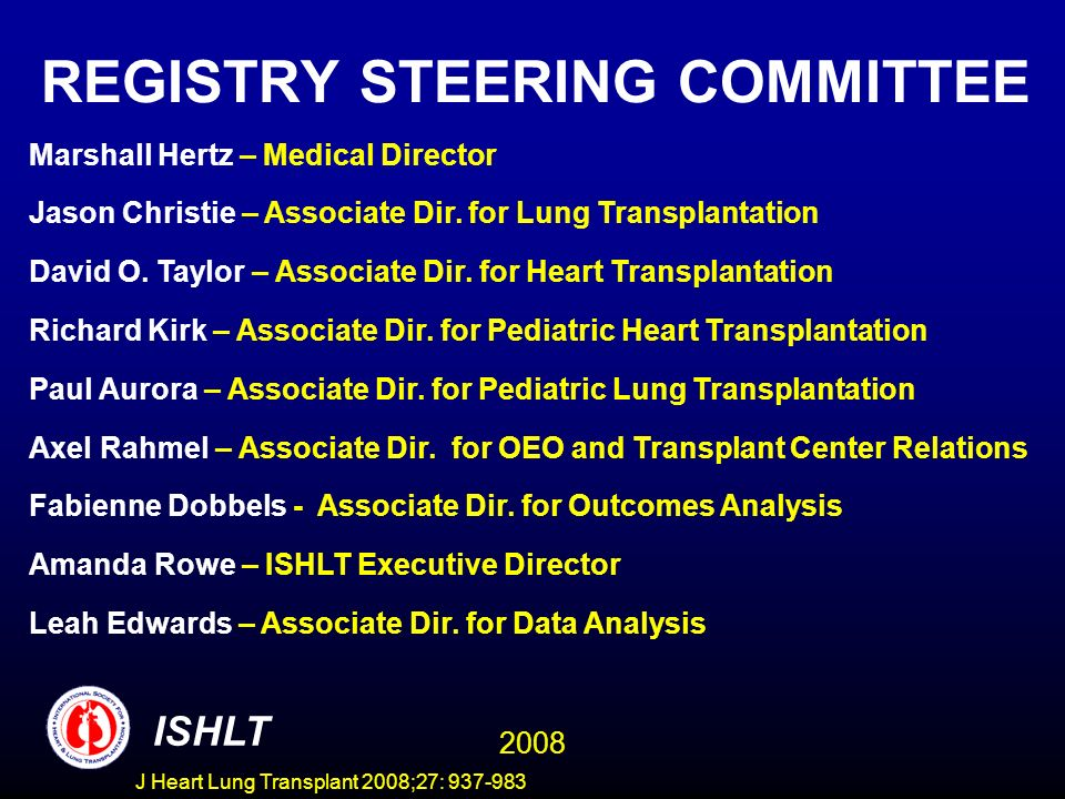 REGISTRY STEERING COMMITTEE Marshall Hertz – Medical Director Jason Christie – Associate Dir. for Lung Transplantation David O. Taylor – Associate Dir