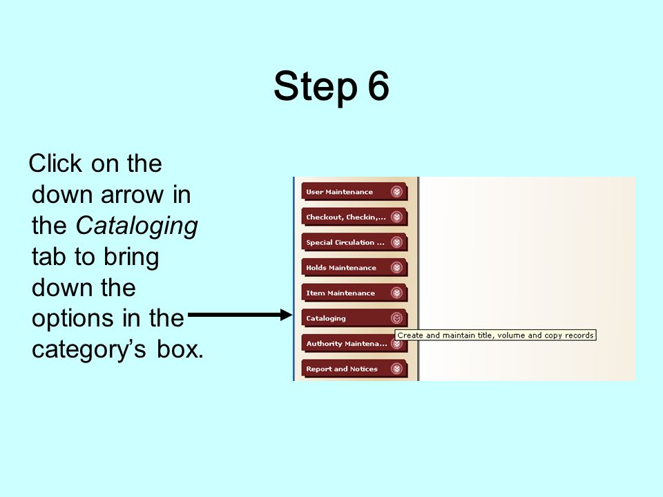 Step 5 After hitting the OK button you will be redirected to the home screen for the cataloging program.