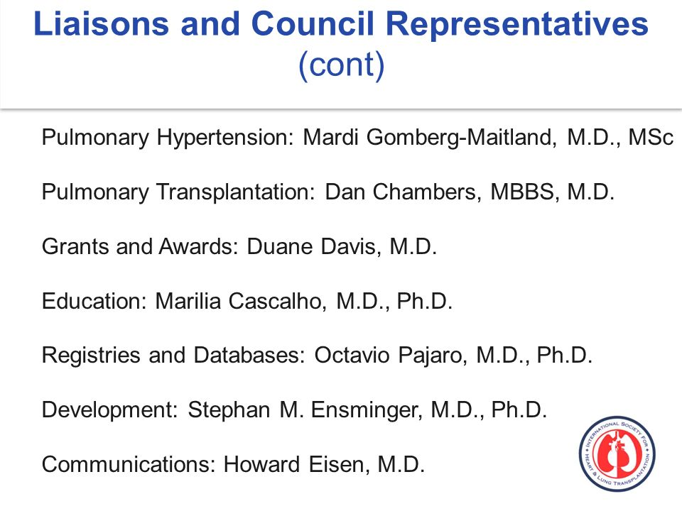 Liaisons and Council Representatives (cont) Pulmonary Hypertension: Mardi Gomberg-Maitland, M.D., MSc Pulmonary Transplantation: Dan Chambers, MBBS, M