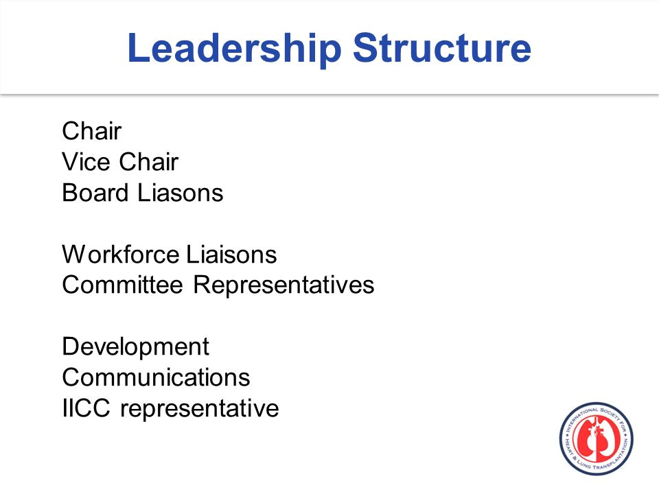 Chair Vice Chair Board Liasons Workforce Liaisons Committee Representatives Development Communications IICC representative Leadership Structure