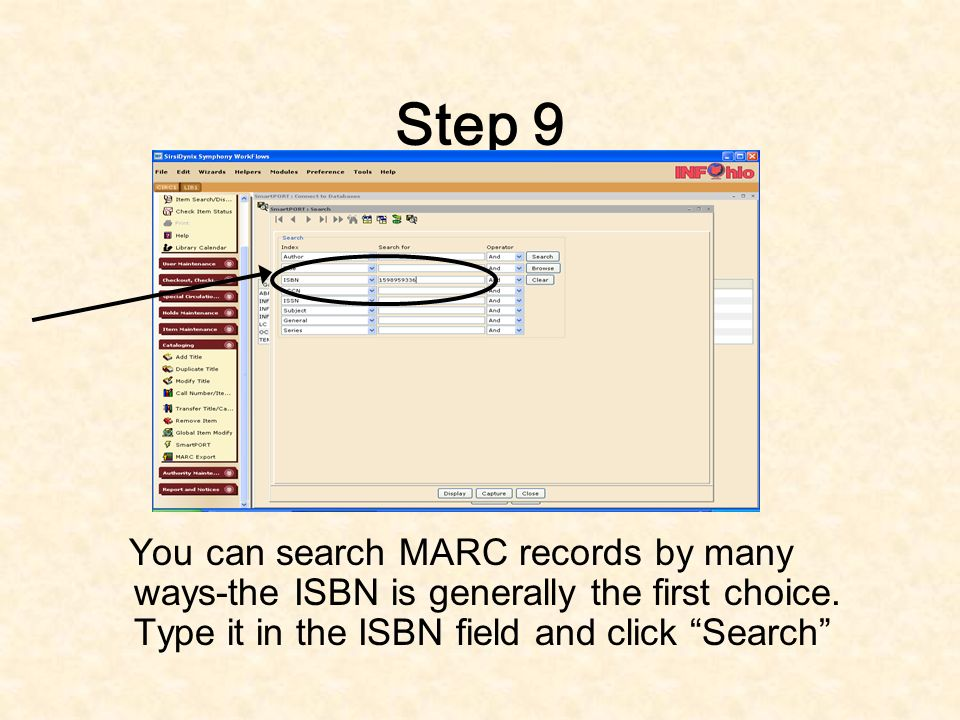 Step 8 Click on the boxes in which you want to search for MARC records (see image to the left for an example).