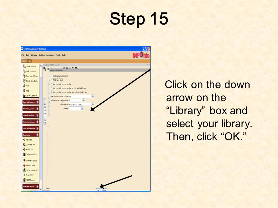 Step 14 This screen will appear- make sure you have chosen Match and Load and Match on title control number and indexed MARC tag IMPORTANT: Also make sure Title control number source is set on oisl.