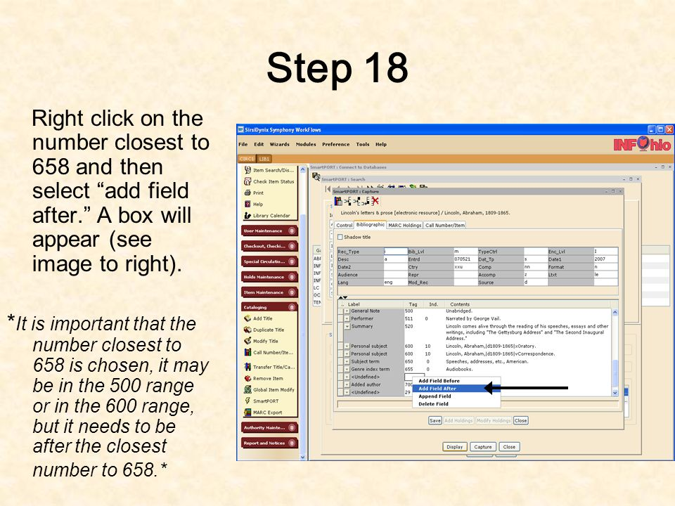 Step 17 If the book being added is correlated to the ODE Academic Content Standards, it needs a 658 tag.