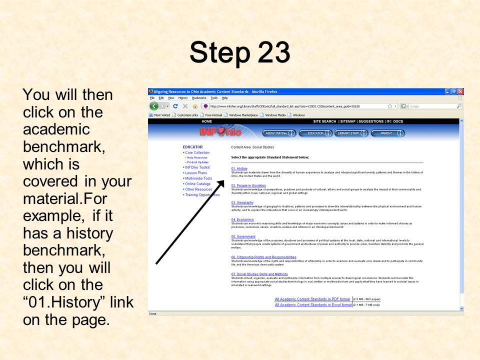 Step 22 Depending on the content area of your material, you will click on the link related to the content area.For example, for social studies you will click on the social studies link.