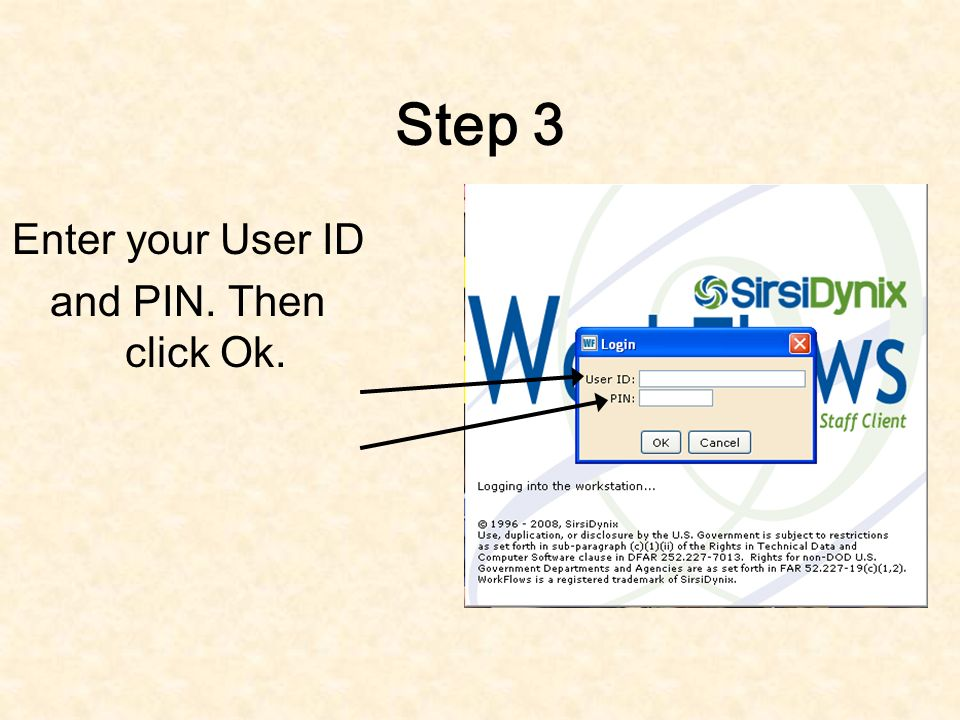 Step 2 If not entered already, enter the IP address, port number, and workstation (Name) and then hit OK.
