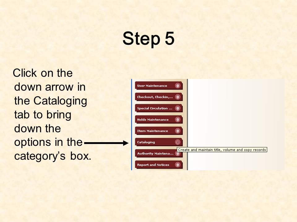 Step 4 After hitting the OK button you will be redirected to the home screen for the cataloging program.
