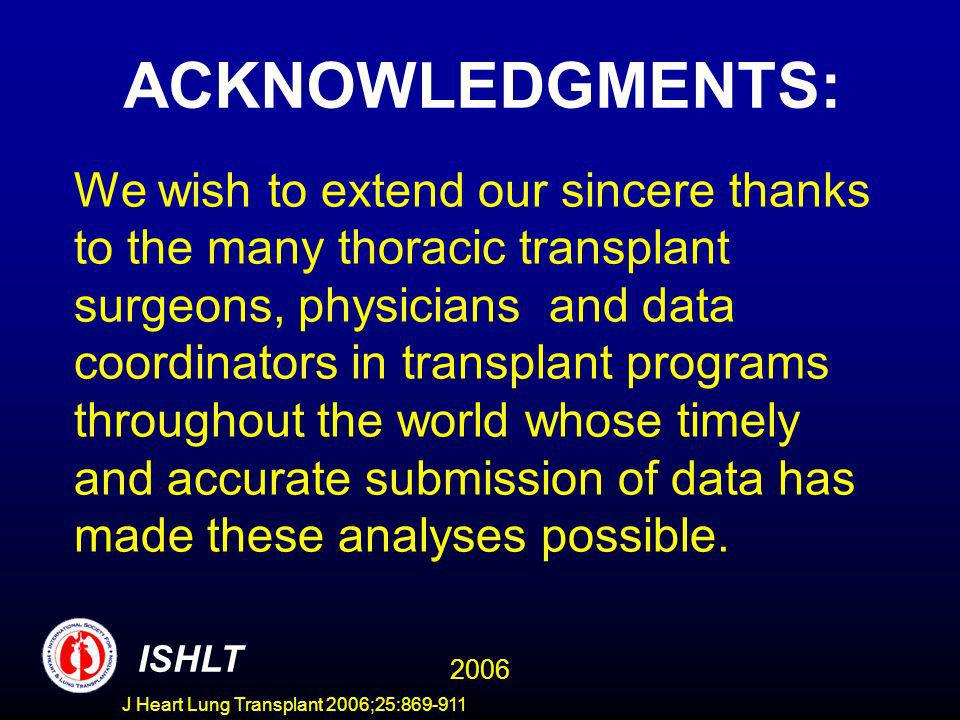 ACKNOWLEDGMENTS: We wish to extend our sincere thanks to the many thoracic transplant surgeons, physicians and data coordinators in transplant program