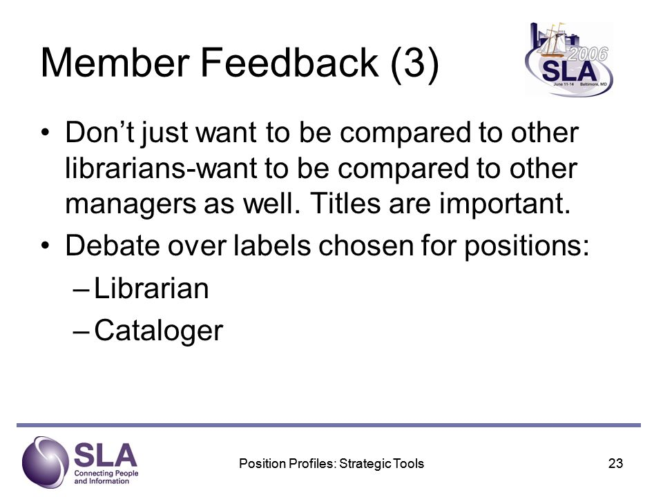 Position Profiles: Strategic Tools23Position Profiles: Strategic Tools23 Member Feedback (3) Dont just want to be compared to other librarians-want to be compared to other managers as well.