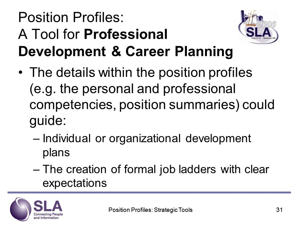 Position Profiles: Strategic Tools31Position Profiles: Strategic Tools31 Position Profiles: A Tool for Professional Development & Career Planning The details within the position profiles (e.g.