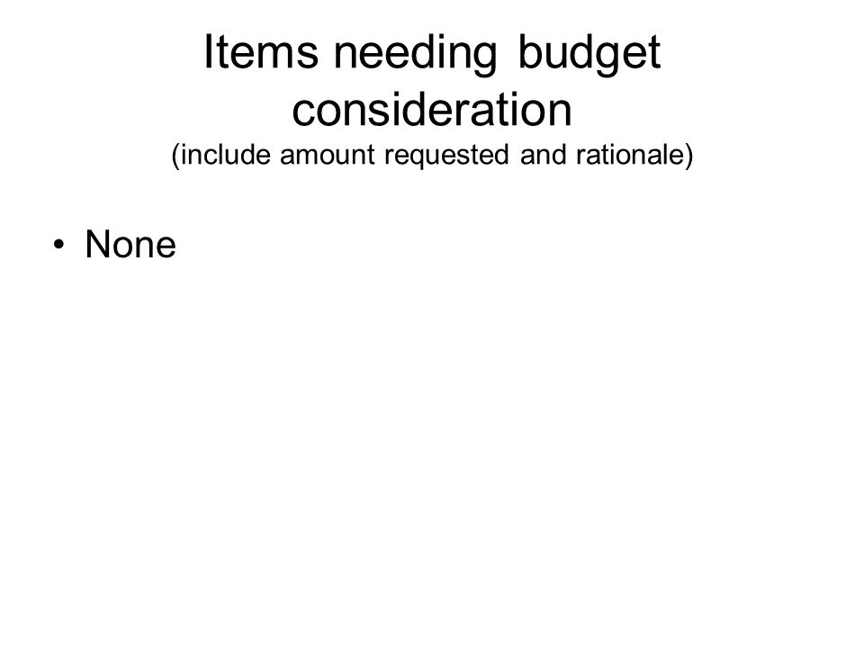 Items needing budget consideration (include amount requested and rationale) None