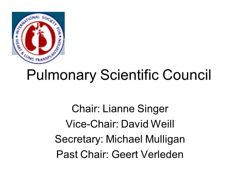 Pulmonary Scientific Council Chair: Lianne Singer Vice-Chair: David Weill Secretary: Michael Mulligan Past Chair: Geert Verleden