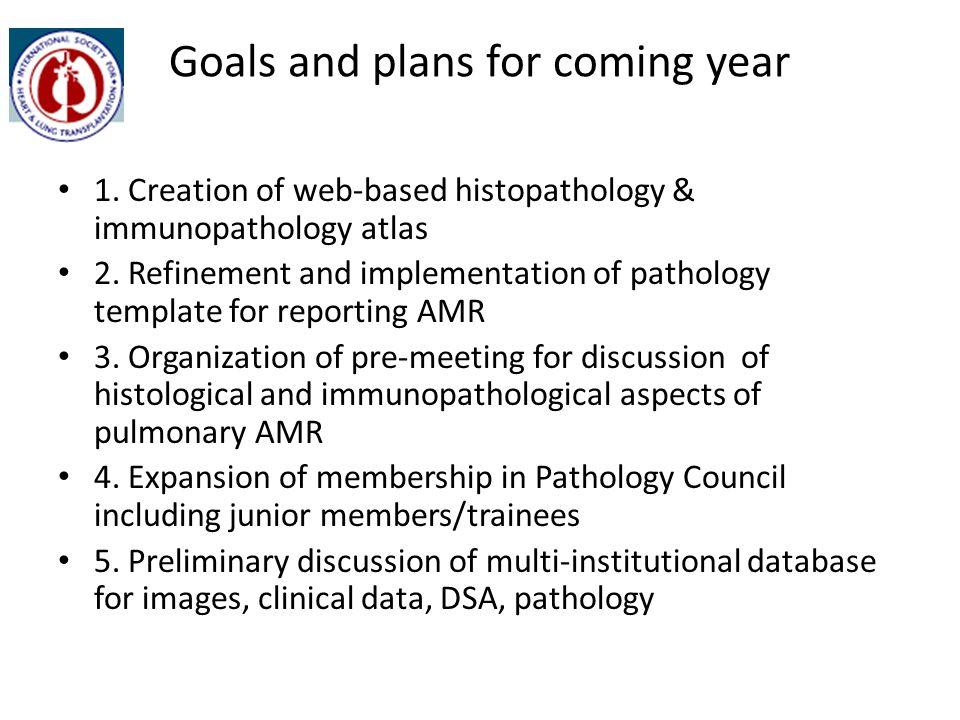 Goals and plans for coming year 1.Creation of web-based histopathology & immunopathology atlas 2.