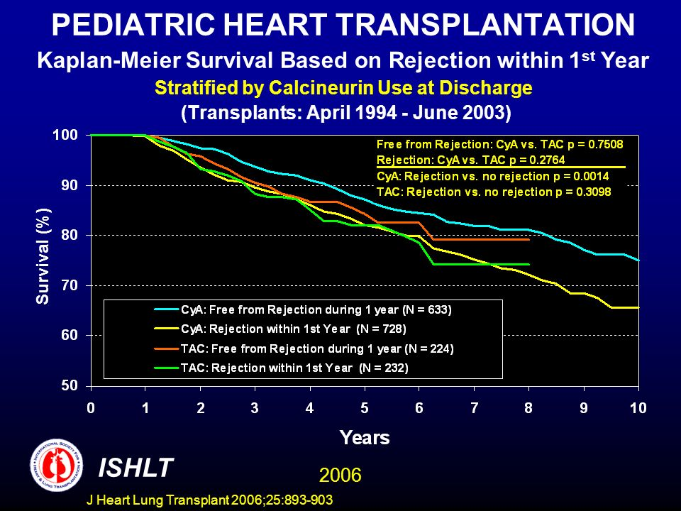 PEDIATRIC HEART TRANSPLANTATION Kaplan-Meier Survival Based on Rejection within 1 st Year Stratified by Calcineurin Use at Discharge (Transplants: April June 2003) Survival (%) ISHLT 2006 J Heart Lung Transplant 2006;25: