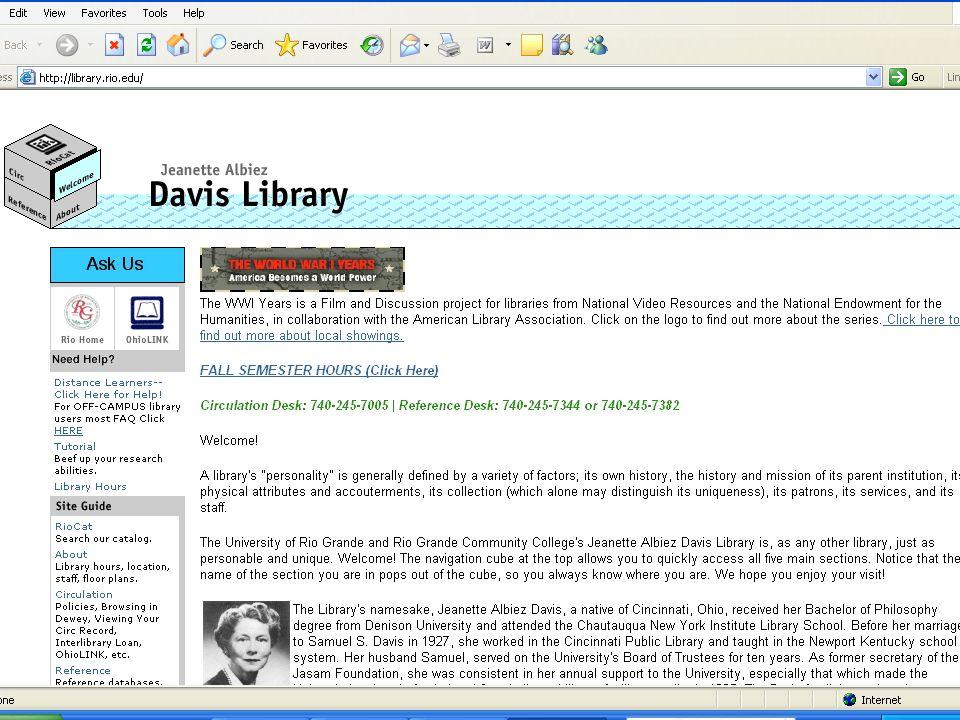 Davis Library < < < < < < < < < Ohio Teacher Standards & Information Literacy < < < < < < < < <