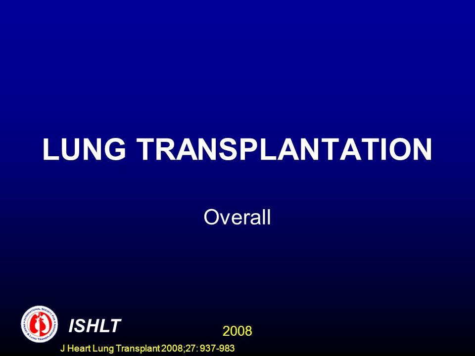 LUNG TRANSPLANTATION Overall ISHLT 2008 J Heart Lung Transplant 2008;27: 937-983