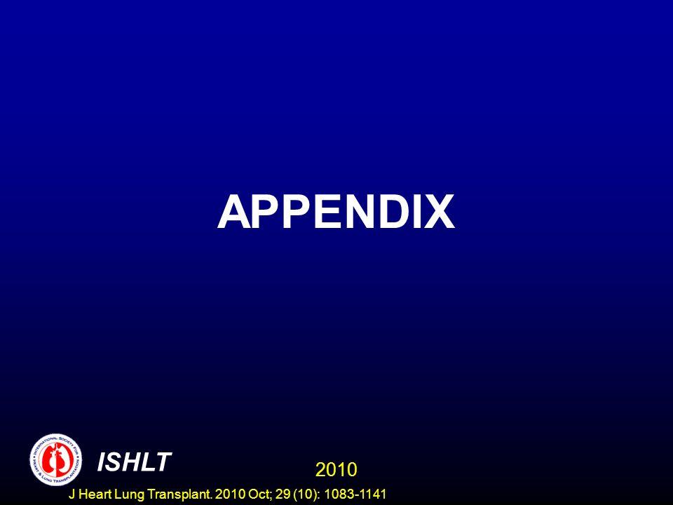 APPENDIX 2010 ISHLT J Heart Lung Transplant. 2010 Oct; 29 (10): 1083-1141