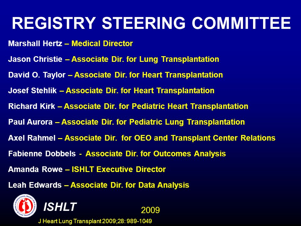 J Heart Lung Transplant 2009;28: 989-1049 Centers Reporting to the ISHLT Transplant Registry COUNTRY/Center TXs Performed 1/2007- 6/2008 and Reported to ISHLT ARGENTINA Fundacion Favaloro x Hospital Italiano x AUSTRALIA 1 St.