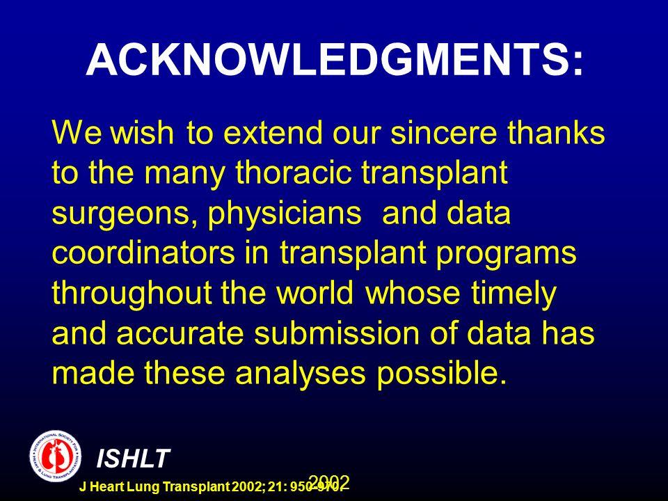 2002 ISHLT J Heart Lung Transplant 2002; 21: 950-970.