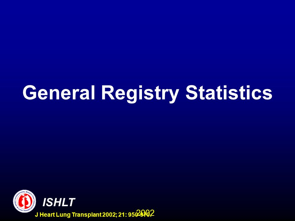 2002 ISHLT J Heart Lung Transplant 2002; 21: 950-970. General Registry Statistics