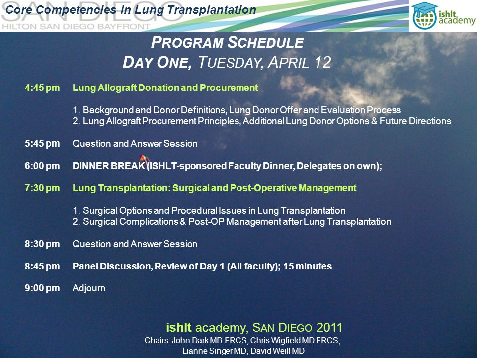 P ROGRAM S CHEDULE D AY O NE, T UESDAY, A PRIL 12 Core Competencies in Lung Transplantation 4:45 pmLung Allograft Donation and Procurement 1.