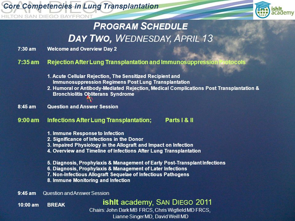 P ROGRAM S CHEDULE D AY T WO, W EDNESDAY, A PRIL 13 Core Competencies in Lung Transplantation 7:30 amWelcome and Overview Day 2 7:35 amRejection After Lung Transplantation and Immunosuppression Protocols 1.