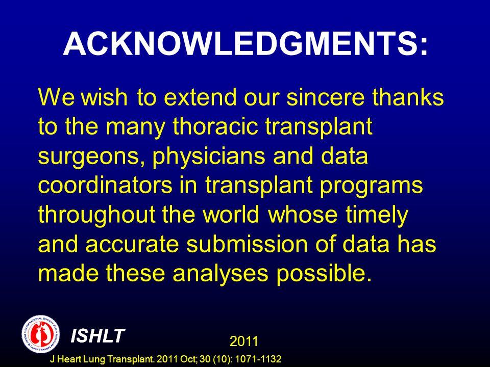 APPENDIX ISHLT 2011 ISHLT J Heart Lung Transplant. 2011 Oct; 30 (10): 1071-1132