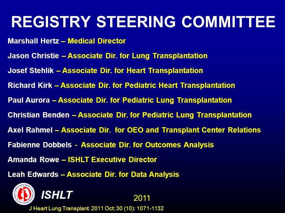 Centers Reporting to the ISHLT Transplant Registry COUNTRY/Center TXs Performed 1/2009- 6/2010 and Reported to ISHLT IRELAND 5 Mater Hospital x ISRAEL Rabin Medical Center (Belinson Campus) x Sheba Medical Center x ITALY Niguarda CA Granda Hospital x Policlinico S.