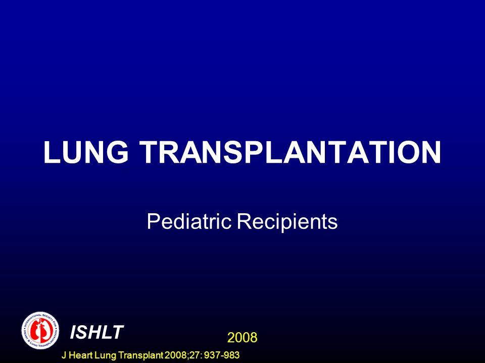 PEDIATRIC LUNG TRANSPLANTATION Kaplan-Meier Survival Stratified by Induction Use (Transplants: January 2001 - June 2006) ISHLT 2008 J Heart Lung Transplant 2008;27: 937-983