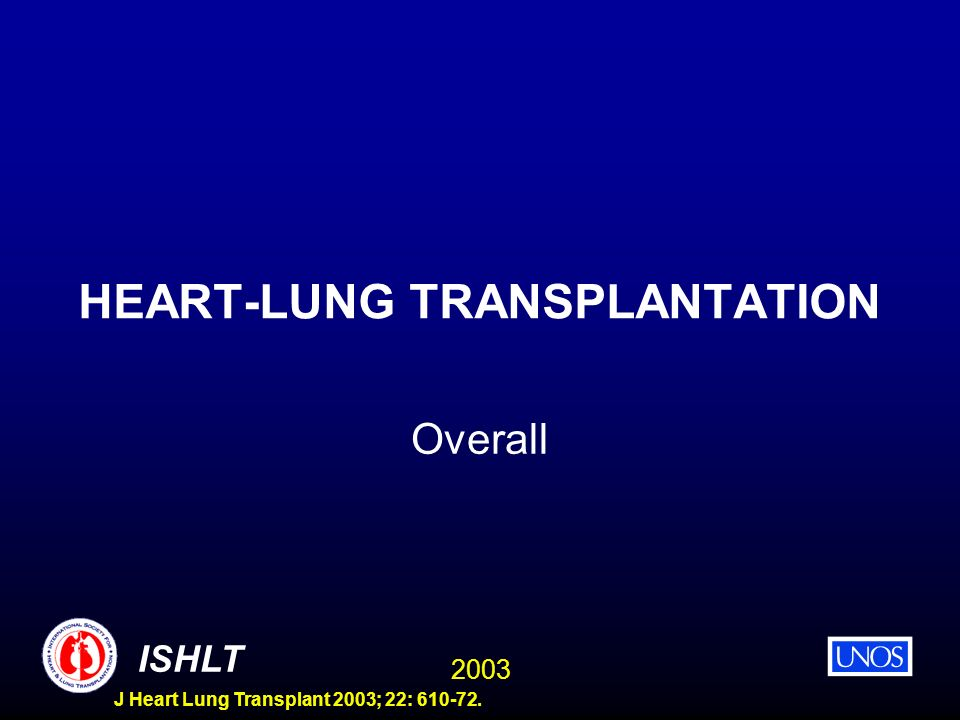 2003 ISHLT J Heart Lung Transplant 2003; 22: 610-72. HEART-LUNG TRANSPLANTATION Overall
