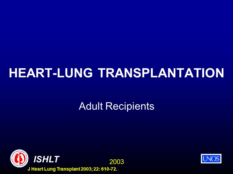 2003 ISHLT J Heart Lung Transplant 2003; 22: HEART-LUNG TRANSPLANTATION Adult Recipients