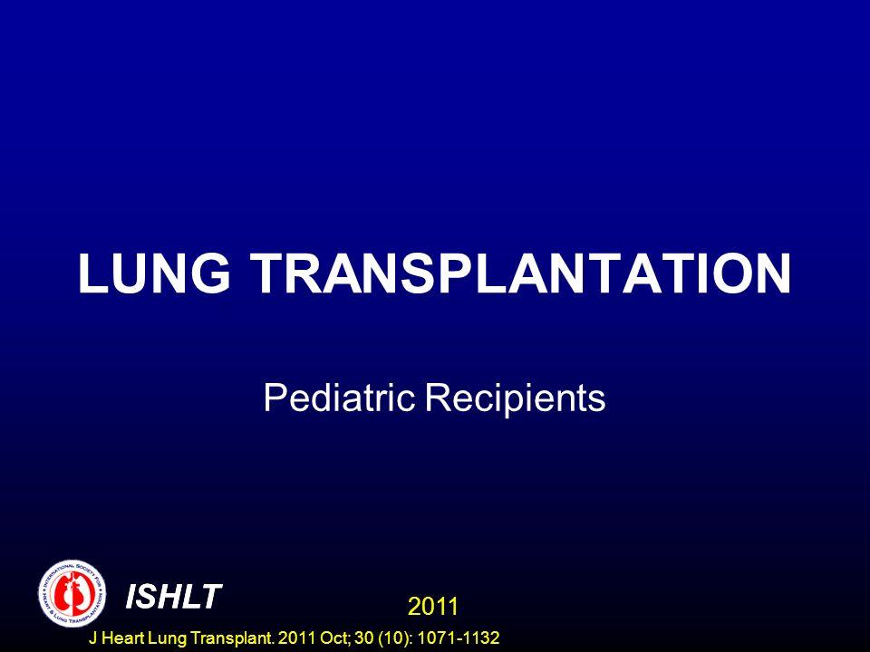 LUNG TRANSPLANTATION Pediatric Recipients 2011 ISHLT J Heart Lung Transplant.