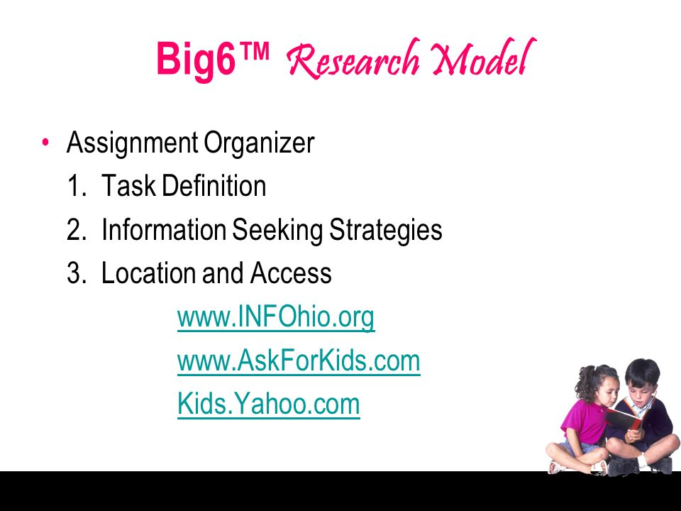 Big6 Research Model Assignment Organizer 1. Task Definition 2.