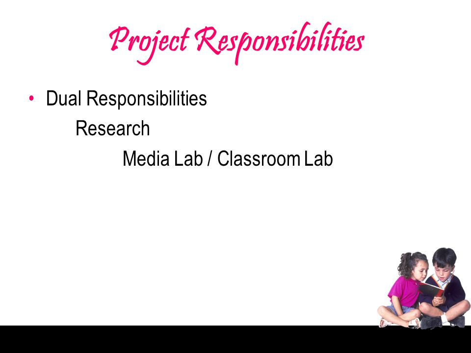 Project Responsibilities Dual Responsibilities Research Media Lab / Classroom Lab