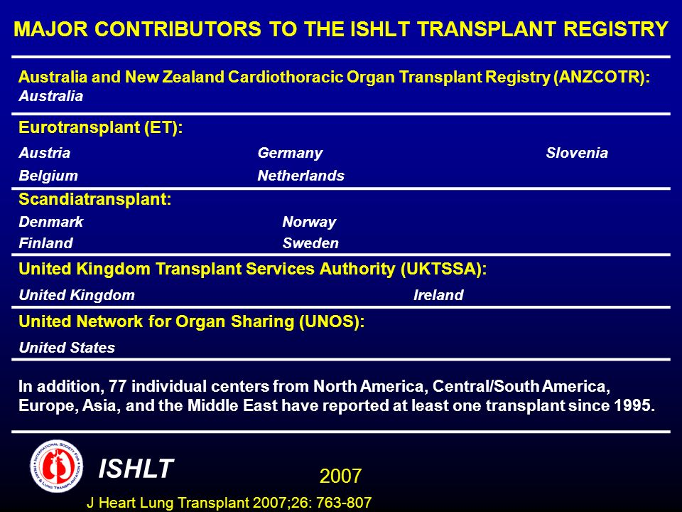 MAJOR CONTRIBUTORS TO THE ISHLT TRANSPLANT REGISTRY Australia and New Zealand Cardiothoracic Organ Transplant Registry (ANZCOTR): Australia Eurotransplant (ET): AustriaGermanySlovenia BelgiumNetherlands Scandiatransplant: DenmarkNorway FinlandSweden United Kingdom Transplant Services Authority (UKTSSA): United KingdomIreland United Network for Organ Sharing (UNOS): United States In addition, 77 individual centers from North America, Central/South America, Europe, Asia, and the Middle East have reported at least one transplant since 1995.