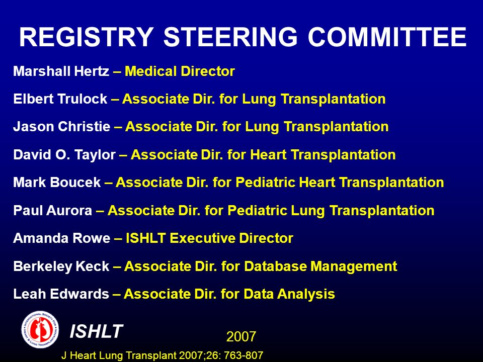 REGISTRY STEERING COMMITTEE Marshall Hertz – Medical Director Elbert Trulock – Associate Dir.