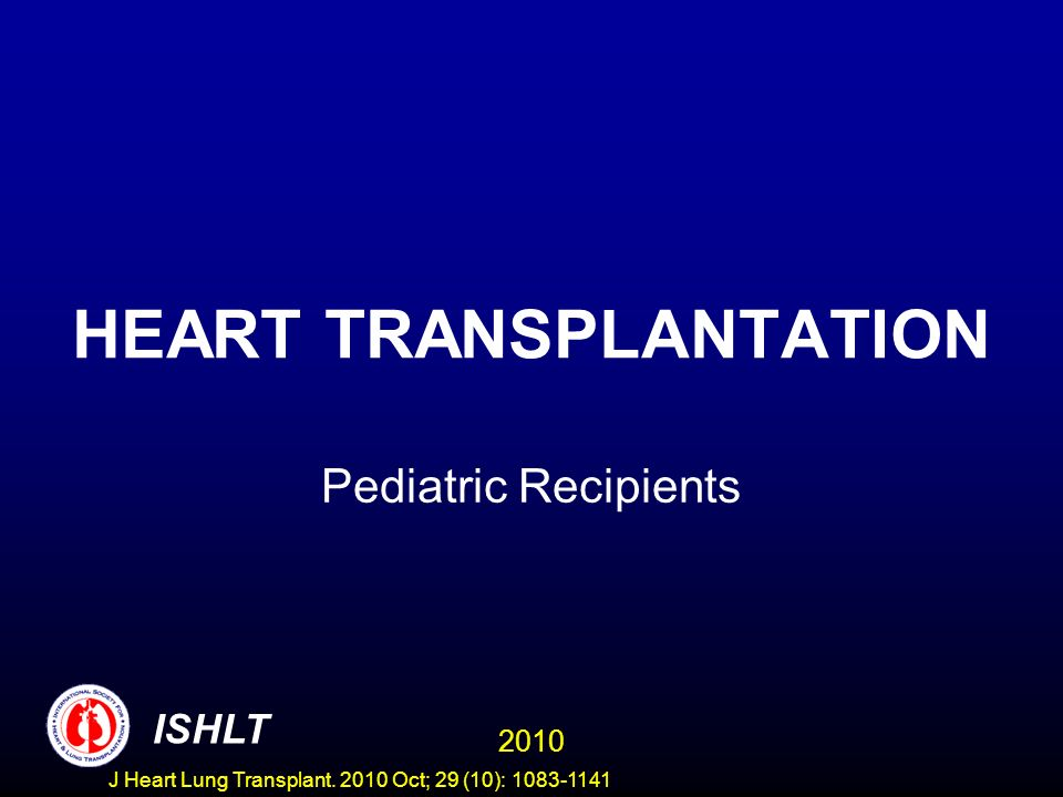 AGE DISTRIBUTION OF PEDIATRIC HEART RECIPIENTS (Transplants: January 1996 - June 2009) 2010 ISHLT J Heart Lung Transplant.