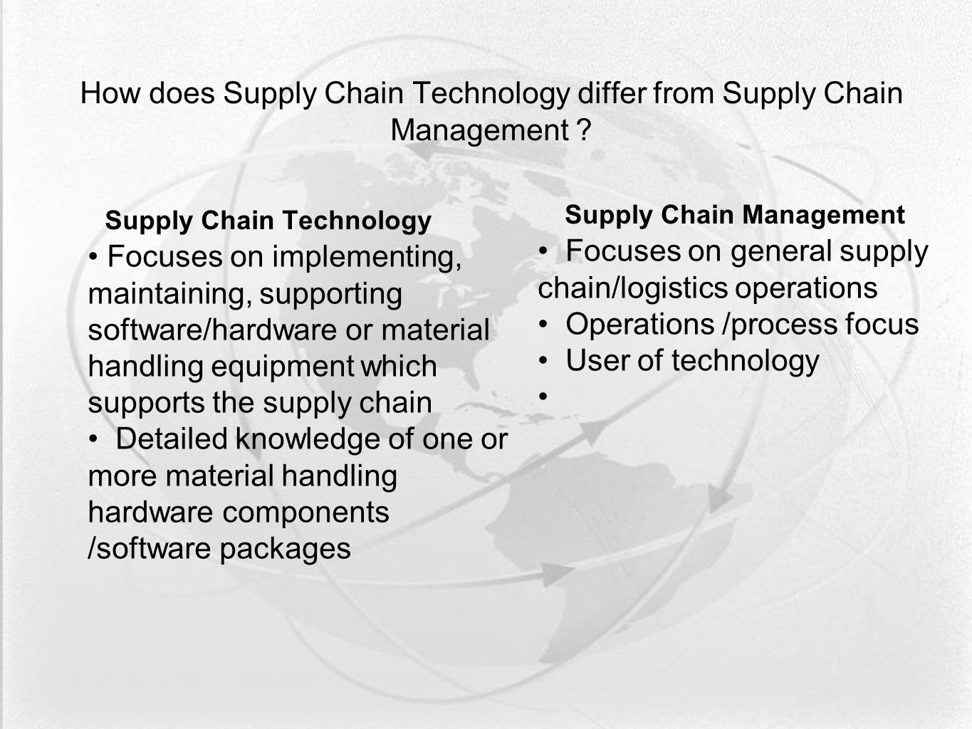 How does Supply Chain Technology differ from Supply Chain Management .