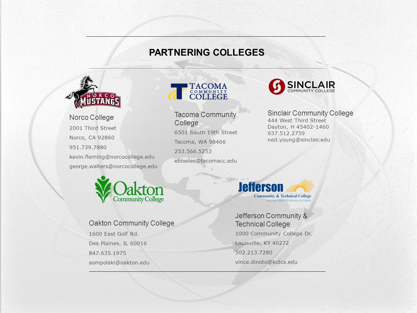 2 Norco College 2001 Third Street Norco, CA 92860 951.739.7880 kevin.fleming@norcocollege.edu george.walters@norcocollege.edu Oakton Community College 1600 East Golf Rd.