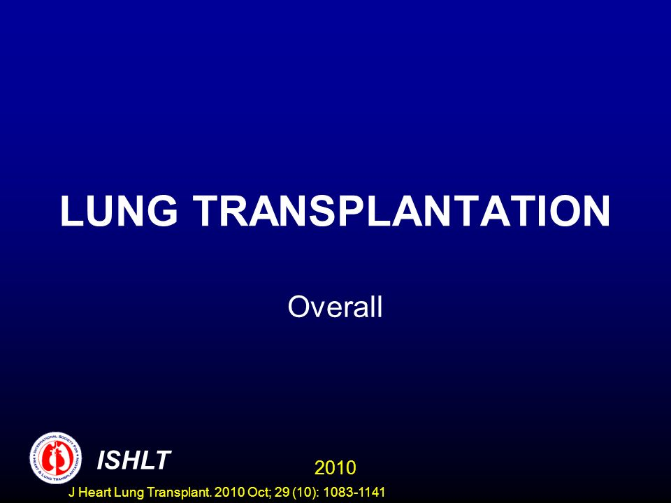 ADULT LUNG TRANSPLANTATION Kaplan-Meier Survival by Procedure Type and Era (Transplants: January 1990 – June 2008) Diagnosis: Idiopathic Pulmonary Fibrosis, Double Lung 2010 ISHLT J Heart Lung Transplant.